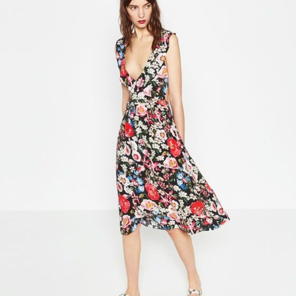52724723 Zara Dresses | Black Floral Midi Dress With Back Cut Out M | Poshmark